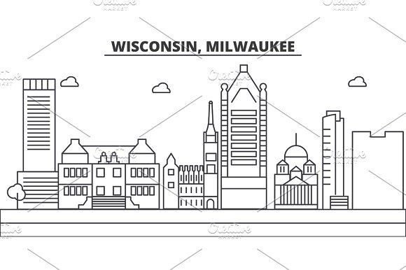 Wisconsin Milwaukee City Architecture Line Skyline Illustration Linear Vector Cityscape With Famous Landmarks City Sights Design Icons Landscape Wtih Editable Strokes