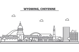 Wyoming, Cheyenne architecture line skyline illustration. Linear vector cityscape with famous landmarks, city sights, design icons. Landscape wtih editable strokes