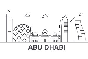 Abu Dhabi architecture line skyline illustration. Linear vector cityscape with famous landmarks, city sights, design icons. Landscape wtih editable strokes