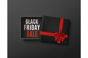 Black Friday sale design. Black empty gift box with red bow.