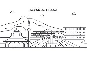 Albania, Tirana architecture line skyline illustration. Linear vector cityscape with famous landmarks, city sights, design icons. Landscape wtih editable strokes