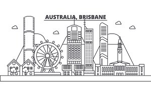 Australia, Brisbane architecture line skyline illustration. Linear vector cityscape with famous landmarks, city sights, design icons. Landscape wtih editable strokes