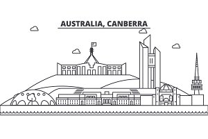 Australia, Canberra architecture line skyline illustration. Linear vector cityscape with famous landmarks, city sights, design icons. Landscape wtih editable strokes