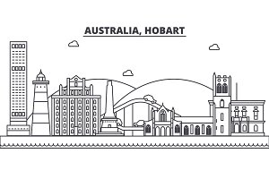 Australia, Hobart architecture line skyline illustration. Linear vector cityscape with famous landmarks, city sights, design icons. Landscape wtih editable strokes
