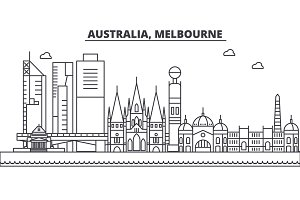 Australia, Melbourne architecture line skyline illustration. Linear vector cityscape with famous landmarks, city sights, design icons. Landscape wtih editable strokes