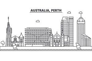 Australia, Perth architecture line skyline illustration. Linear vector cityscape with famous landmarks, city sights, design icons. Landscape wtih editable strokes
