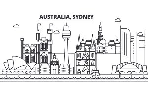Australia, Sydney architecture line skyline illustration. Linear vector cityscape with famous landmarks, city sights, design icons. Landscape wtih editable strokes