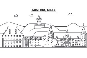 Austria, Graz architecture line skyline illustration. Linear vector cityscape with famous landmarks, city sights, design icons. Landscape wtih editable strokes