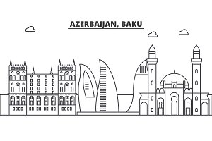 Azerbaijan, Baku architecture line skyline illustration. Linear vector cityscape with famous landmarks, city sights, design icons. Landscape wtih editable strokes