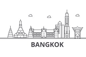 Bangkok architecture line skyline illustration. Linear vector cityscape with famous landmarks, city sights, design icons. Landscape wtih editable strokes