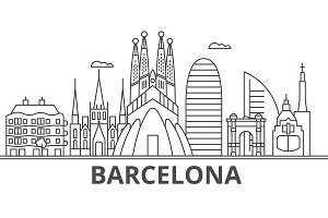 Barcelona architecture line skyline illustration. Linear vector cityscape with famous landmarks, city sights, design icons. Landscape wtih editable strokes