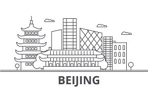 Beijing architecture line skyline illustration. Linear vector cityscape with famous landmarks, city sights, design icons. Landscape wtih editable strokes