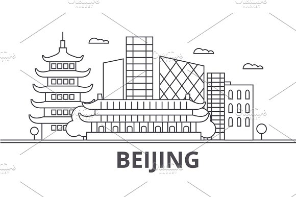 Beijing Architecture Line Skyline Illustration Linear Vector Cityscape With Famous Landmarks City Sights