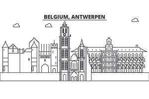 Belgium, Antwerpen architecture line skyline illustration. Linear vector cityscape with famous landmarks, city sights, design icons. Landscape wtih editable strokes