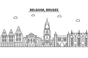 Belgium, Bruges architecture line skyline illustration. Linear vector cityscape with famous landmarks, city sights, design icons. Landscape wtih editable strokes