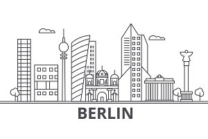 Berlin architecture line skyline illustration. Linear vector cityscape with famous landmarks, city sights, design icons. Landscape wtih editable strokes