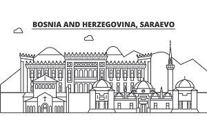 Bosnia And Herzegovina, Saraevo architecture line skyline illustration. Linear vector cityscape with famous landmarks, city sights, design icons. Landscape wtih editable strokes