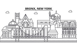 Bronx, New York architecture line skyline illustration. Linear vector cityscape with famous landmarks, city sights, design icons. Landscape wtih editable strokes