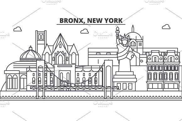 Bronx New York Architecture Line Skyline Illustration Linear Vector Cityscape With Famous Landmarks City Sights Design Icons Landscape Wtih Editable Strokes