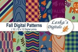Autumn Fall Digital Paper Patterns