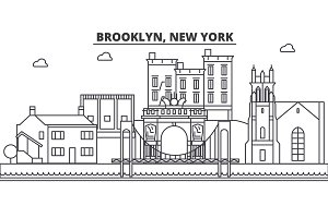 Brooklyn, New York architecture line skyline illustration. Linear vector cityscape with famous landmarks, city sights, design icons. Landscape wtih editable strokes