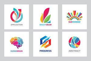 Abstract Positive Vector logo Set