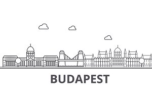 Budapest architecture line skyline illustration. Linear vector cityscape with famous landmarks, city sights, design icons. Landscape wtih editable strokes
