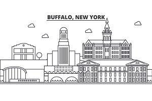 Buffalo, New York architecture line skyline illustration. Linear vector cityscape with famous landmarks, city sights, design icons. Landscape wtih editable strokes
