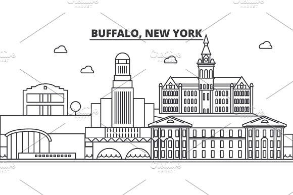 Buffalo New York Architecture Line Skyline Illustration Linear Vector Cityscape With Famous Landmarks City Sights Design Icons Landscape Wtih Editable Strokes