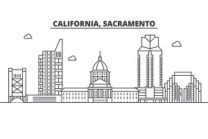 California  Sacramento architecture line skyline illustration. Linear vector cityscape with famous landmarks, city sights, design icons. Landscape wtih editable strokes