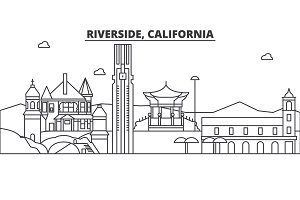 California , Riverside architecture line skyline illustration. Linear vector cityscape with famous landmarks, city sights, design icons. Landscape wtih editable strokes