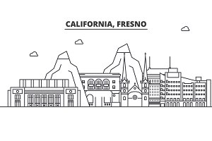 California Fresno architecture line skyline illustration. Linear vector cityscape with famous landmarks, city sights, design icons. Landscape wtih editable strokes