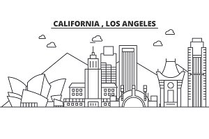 California Los Angeles architecture line skyline illustration. Linear vector cityscape with famous landmarks, city sights, design icons. Landscape wtih editable strokes