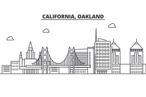 California Oakland architecture line skyline illustration. Linear vector cityscape with famous landmarks, city sights, design icons. Landscape wtih editable strokes