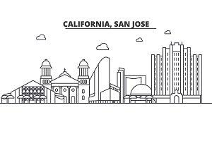 California San Jose architecture line skyline illustration. Linear vector cityscape with famous landmarks, city sights, design icons. Landscape wtih editable strokes