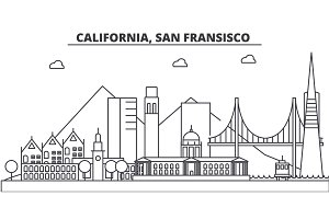 California, San Francisco architecture line skyline illustration. Linear vector cityscape with famous landmarks, city sights, design icons. Landscape wtih editable strokes