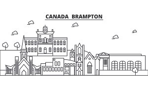 Canada, Brampton architecture line skyline illustration. Linear vector cityscape with famous landmarks, city sights, design icons. Landscape wtih editable strokes