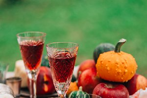 Red liquor in vintage wine glasses