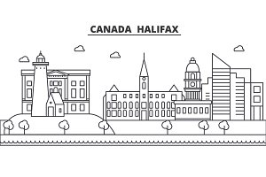 Canada, Halifax architecture line skyline illustration. Linear vector cityscape with famous landmarks, city sights, design icons. Landscape wtih editable strokes
