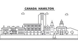 Canada Hamilton line skyline illustration. Linear vector cityscape with famous landmarks, city sights, design icons. Editable strokes