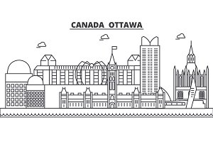 Canada, Ottawa architecture line skyline illustration. Linear vector cityscape with famous landmarks, city sights, design icons. Landscape wtih editable strokes