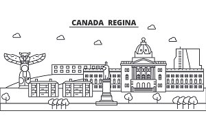 Canada, Regina architecture line skyline illustration. Linear vector cityscape with famous landmarks, city sights, design icons. Landscape wtih editable strokes