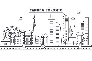 Canada, Toronto architecture line skyline illustration. Linear vector cityscape with famous landmarks, city sights, design icons. Landscape wtih editable strokes