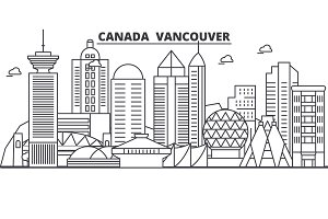 Canada, Vancouver architecture line skyline illustration. Linear vector cityscape with famous landmarks, city sights, design icons. Landscape wtih editable strokes