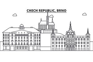 Chech Republic, Brno architecture line skyline illustration. Linear vector cityscape with famous landmarks, city sights, design icons. Landscape wtih editable strokes