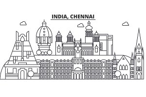 Chennai, India architecture line skyline illustration. Linear vector cityscape with famous landmarks, city sights, design icons. Landscape wtih editable strokes