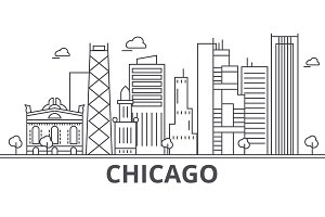 Chicago architecture line skyline illustration. Linear vector cityscape with famous landmarks, city sights, design icons. Landscape wtih editable strokes