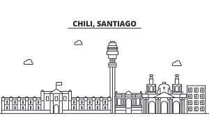 Chile, Santiago architecture line skyline illustration. Linear vector cityscape with famous landmarks, city sights, design icons. Landscape wtih editable strokes