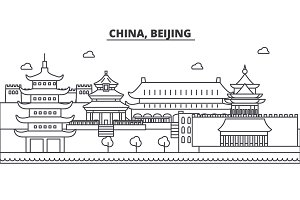 China, Beijing architecture line skyline illustration. Linear vector cityscape with famous landmarks, city sights, design icons. Landscape wtih editable strokes
