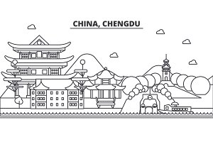 China, Chengdu architecture line skyline illustration. Linear vector cityscape with famous landmarks, city sights, design icons. Landscape wtih editable strokes